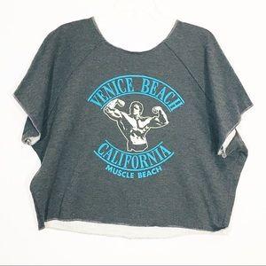 Sweaters - Venice Beach Cut Off Printed Shirt Gray Medium